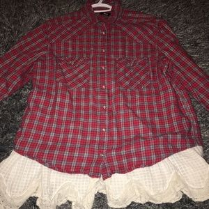 Urban Outfitters 'BDG' Flannel with Lace Detailing
